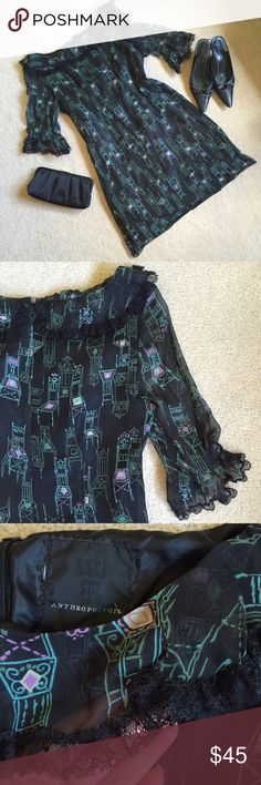 "Anna Sui ""Parlor Games"" dress Anna Sui/Anthropologie sheer 100% silk dress w acetate lining. Cute chair pattern in blue-green and lavender. Lace at neck and cuffs. 19"" bust, 33"" length. EUC Anna Sui Dresses"