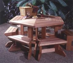 Picnic Table Suite Woodworking Plan from WOOD Magazine Pallet Picnic Tables, Picnic Table Bench, Patio Table, Dining Table, Outdoor Furniture Plans, Diy Pallet Furniture, Family Furniture, Woodworking Bench Plans, Woodworking Projects