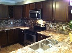 Glass & Stone Backsplash By Stepping Stone and Tile #SST