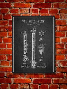 1898 Oil Well Pump Patent Canvas Print Wall Art by PatentsWallArt #patentartdecor