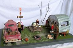 Trailer Park life by Hell Yes Miniature Cars, Miniature Fairy Gardens, Antique Toys, Vintage Toys, Vintage Campers, Vintage Trailers, Trailer Park, Fairy Houses, Doll Houses