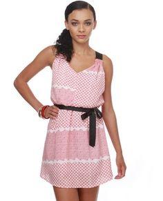 Adorable Print Dress - Red Dress - Racer-Back Dress - $41.00 - StyleSays