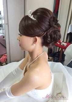 アップヘアがお似合いの素敵な花嫁様 の画像|Milfeliceウェディングヘアメイクアーティスト