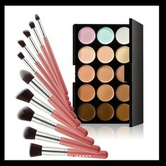 New contours palette +10ps pink makeup brushes set 10Pcs Professional Makeup Brushes Set Foundation Blusher Kabuki Powder Eyeshadow Blending Brushes + 15 Color Concealer Palette Makeup Brushes & Tools