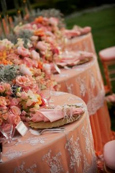 Captivating Reception: Coral/peach Table Linen With Lace Overlay