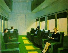Chair Car | Edward Hopper (1965). Dystopian views about technology claim that it make us to lose spontaneity and in some situations drives us to a certain sense of alienation. In these situations exist the danger that people do not appreciate the world which surround them as happens in this Hopper painting where any communication exists between the people sit in the train on their individual chairs from which nobody looks at the landscape through the window.