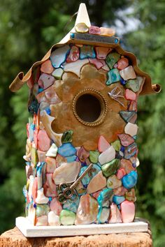 Decorative Mosaic Shell Birdhouse by TheVelvetRobyn on Etsy, $50.00