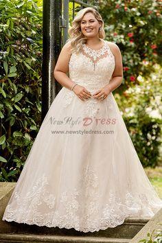 d767cfe46f9 Plus Size Halter Wedding dresses A-line lace bridal Gown nw-414