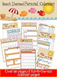 Organizing the Classroom! Beach Theme Personal Planning Calendar