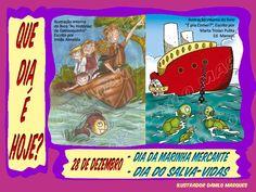 """SÉRIE """"QUE DIA É HOJE?"""" 39 - 28 de Dezembro - Dia da Marinha Mercante; Dia do Salva-Vidas  Ilustração da esquerda (Lápis de Cor): """"As Histórias de Damasquinho"""" - Escrito por Irmãs Almeida. Ilustração da Direita (Desenho a lápis, arte final a nanquim, coloração digital): """"É pra Comer?"""" - Escrito por Marta Troian Pulita - Ed. Maneco  #QueDiaÉHoje #datas #DatasComemorativas #CalendarioSazonal #DiaDaMarinhaMercante #DiaDoSalvaVidas #DiaDoGuardaVidas"""