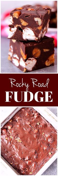 Rocky Road Fudge Recipe - chocolate fudge with mini marshmallows and peanuts. Easy sweet treat made with only 4 ingredients!