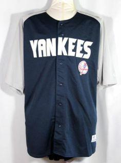 New York NY Yankees Jersey Men's Size 2X Sewn Navy Gray MLB True Fan   eBay