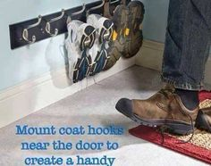 No Room For Shoes At Your Back Door? Now You Do. Great idea for Rpod entrance. With the double hook, both sandals or flat shoes would fit on 1 hook.