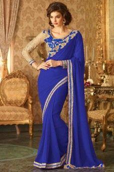 Blue and Beige Indian Designer Gold Border Party Wear Saree  #blue #beige #embroidered #casualwear #traditional #georgette #tfh #gebastore #indiansaree