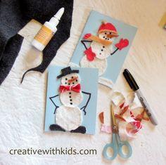 Fabric Scrap Snowman Cards