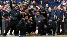 Gold medallists the United States pose following the Victoryceremony for the Men's Basketball on Day 16 of the London 2012 Olympics Games at North Greenwich Arena
