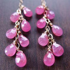 Fancy - Pink Sapphire Cluster Earrings by FriedaSophie