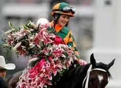 The 2014 #oaks winner - Rosie Napravnik!  What could be more appropriate on a day dedicated to women and fillies!  J. Waddell Interiors: Kentucky Derby Experience - The Oaks -  photo courtesy of kentucky.com