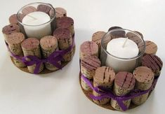 Cork candleholders - perfect table decoration for a winery wedding.: