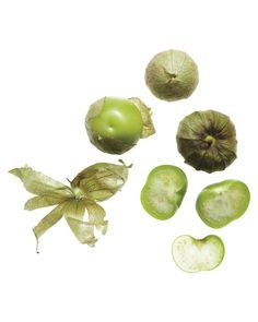 Tomatillos look like small green tomatoes but are actually related to the Cape gooseberry. Their papery husks should be removed before eating. You may know these tart, refreshing fruits, a staple in Latin cuisine,