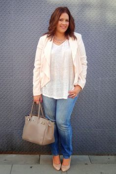 Denim jeans, white shirt, cream blazer/jacket, add long necklaces, nude shoes & neutral handbag.