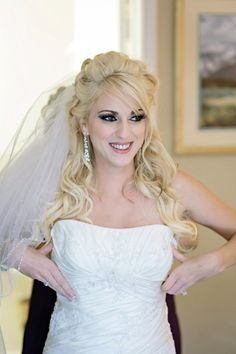 Bride makeup Curly Half-up Long Veil Long Medium Wavy Wedding Hair & Beauty Photos & Pictures - WeddingWire.com