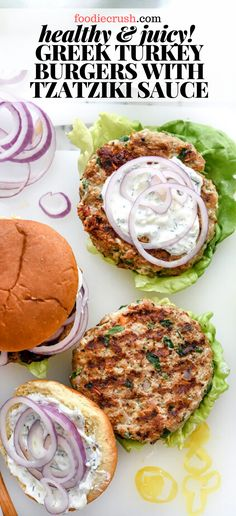 These light and juicy turkey burgers go Greek, with the addition of sun-dried tomatoes, oregano, feta cheese, and a creamy homemade tzatziki sauce! Turkey Feta Burgers, Homemade Turkey Burgers, Turkey Burger Recipes, Beef Burgers, Veggie Burgers, Hamburger Recipes, Greek Burger, Turkey Patties, Homemade Tzatziki Sauce