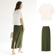 We're green with envy over this skirt/crepe short sleeve blouse combo. Shop the… Kids Outfits, Work Outfits, Complete Outfits, Green Fashion, Short Sleeve Blouse, Fashion Outfits, Womens Fashion, Uniqlo, Summer 2016