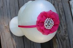 pink vintage inspired bling flower headband by CraftyAshBowsnMore, $10.00