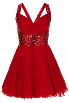 Nina Red Sequin Dress (front) - Dresses by Jones and Jones