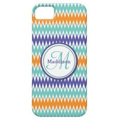 Add your monogram and name to this stylish and chic iPhone 5 case with a fun and modern chevron zigzag pattern with colors to remind you of summer with orange, turquoise and bluish purple zigzag stripes with a white accent.