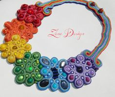 "Colier soutache ""Rainbow"" 