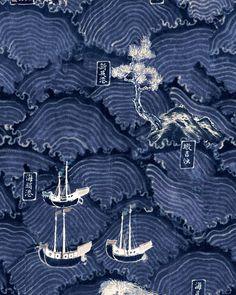 WAVES OF TSUSHIMA Wallpaper Waves Wallpaper, Pattern Wallpaper, Wallpaper Ideas, Mind The Gap, Traditional Wallpaper, Burke Decor, World Cultures, Woodblock Print, Designer Wallpaper