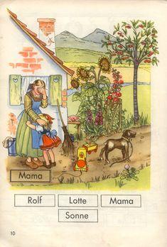 Schulbuch: Meine Fibel herausgegeben von Dr. Peter Engel und Theo Schreiber mit Bildern von Irene Reicherts-Born; Ernst Klett Verlag Stuttgart, 4. Auflage, 1953 Klett Verlag