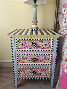 "Night stands and lamps to match the Mackenzie Childs 'What a Hoot"" Bedding I purchased for my little girls room."