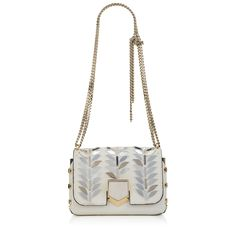 Jimmy Choo Lockett Petite Shoulder Bag in White Pony with Graphic Silver Mirror Embroidery. Jimmy Choo, Glam And Glitter, Designer Shoulder Bags, New Bag, Luxury Shoes, Leather Accessories, Leather Shoulder Bag, Bucket Bag, Crossbody Bag