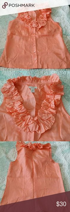 """J Crew Silk top #TA004 Beautiful rich peach color, crinkle ruffle around neck. Button up. 100% silk. Never worn. Size 2 but fits larger. Bust laying flat 18"""", waist 17"""", lenght 23"""" #TA004 J. Crew Tops Button Down Shirts"""