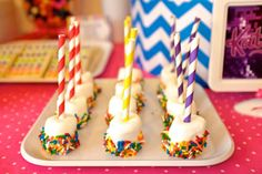 Marshmallow pops at a Katy Perry birthday party! See more party planning ideas at CatchMyParty.com!