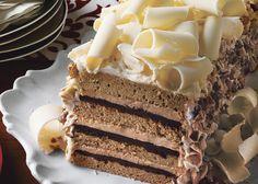 White Chocolate Espresso Torte with Hazelnut Praline Recipe - Bon Appétit Chocolate Espresso, White Chocolate, Chocolate Ganache, Espresso Cake, Nutella, Praline Recipe, Praline Cake, Hazelnut Praline, Cake Recipes