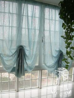 French Country Floral Blue Pull Up Balloon Shade Austrian Cotton Cafe Kitchen Curtain 005. $31.00, via Etsy.