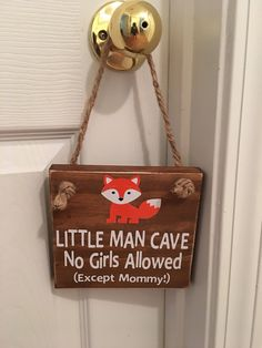 Excited to share the latest addition to my shop: Adorable Rustic Little Man Cave No Girls Allowed (Except Mommy!) ™ With a Fox Wooden Door Sign for Little Boys Room / Nursery Baby Boy Room Decor, Baby Boy Rooms, Baby Boy Nurseries, Fox Nursery, Nursery Room, Kids Bedroom, Boy Bedrooms, Woodland Nursery, Bedroom Decor