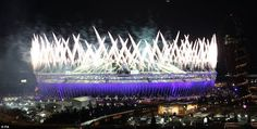 Stunning: Fireworks at the Opening Ceremony at the Olympic Stadium, watched by more than a million people around the globe