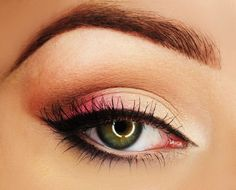 Bright spring colors like these pinks and peach compliment hazel and green eyes. Click on the image to learn how to apply.  From... makeup with simply marlena