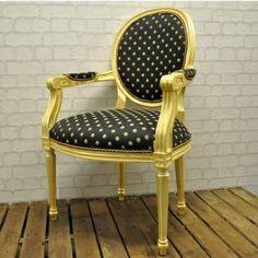 Black and cream French brochure chairs | Acaciahome - Antique Gold Frame Black Spot Louis XVI Arm Chair -