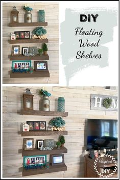 Tutorial for building DIY floating wood shelves for the walls in your living room, bedroom, bathroom, office, or laundry room. Add a rustic farmhouse style to your walls with this quick and easy DIY plan for building chunky wood shelving. Simple project you can make with scrap wood using pocket holes.