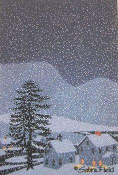 Illustration of a winter landscape at night, with snow falling. Illustration Noel, Winter Illustration, Christmas Illustration, Illustrations, Winter Magic, Winter Art, Buch Design, Winter Wonder, Naive Art