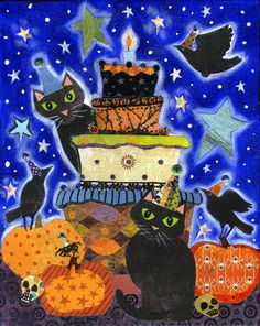 Halloween Party  8x10 Colorful Whimsical Black by BlueLucyStudios, $20.00