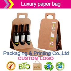 Drink packaging paper bag gift bags Take-out bags paper box Red wine gift box color box card box packing(China (Mainland))