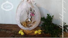 Lavenderia - decoupage i inne: Wielkanocne jajo z kordonka Decoupage, Christmas Bulbs, Easter, Holiday Decor, Home Decor, Decoration Home, Christmas Light Bulbs, Room Decor, Easter Activities