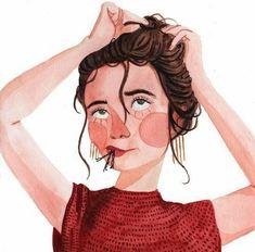 girl putting hair up illustration by maggie cole draws Love Illustration, Portrait Illustration, Wow Art, Fancy Hairstyles, Cute Art, Art Inspo, Art Girl, Watercolor Art, Bobby Pins